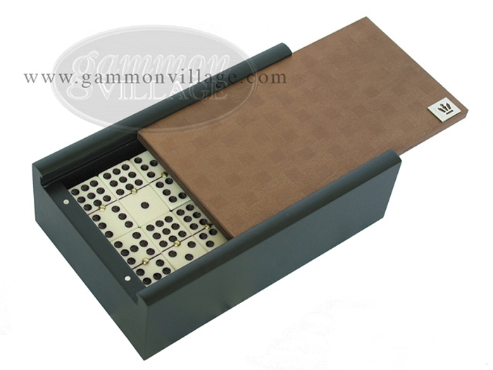Double 9 Venetian Dominoes in Colored Wood Box - Brown