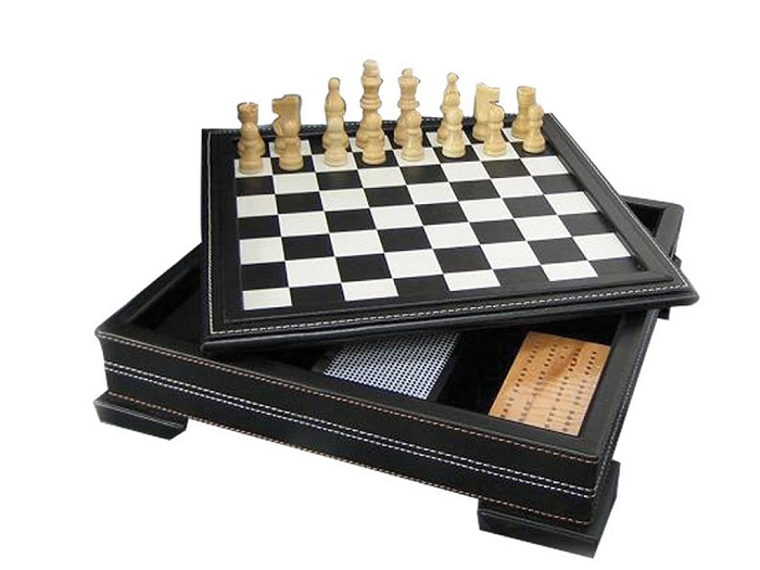 7-in-1 Game Set in Black Leatherette