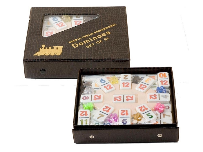 DOUBLE 12 Mexican Train Dominoes Set with Colored Numerals