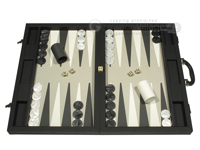 Dal Negro Eco Leather Backgammon Set - Black