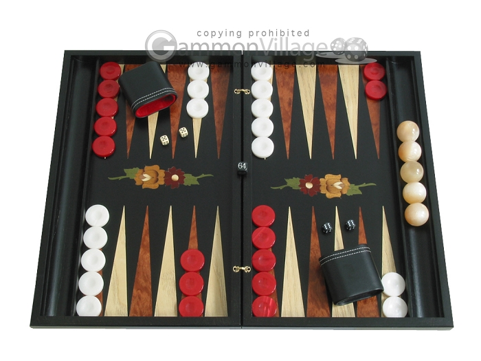 Black Backgammon Set with Racks - Flower