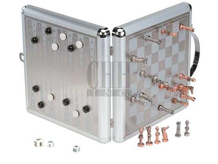 13in. Magnetic Chess & Backgammon Set