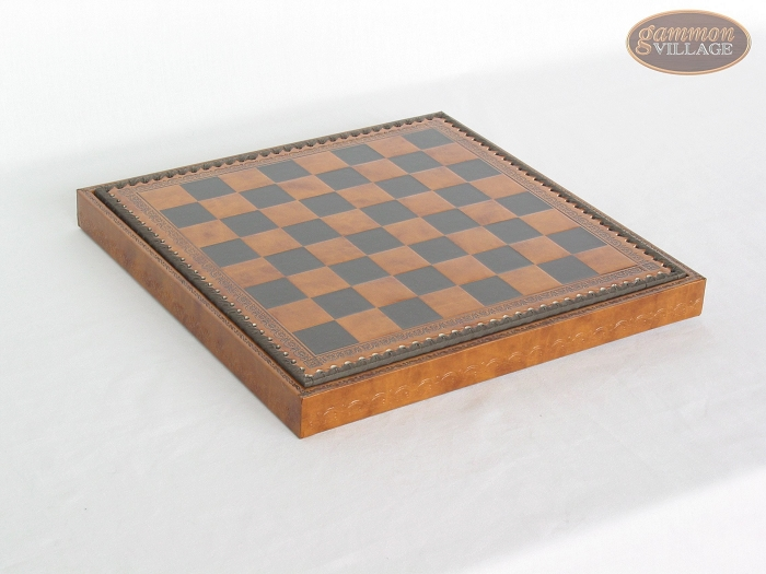 Patterned Italian Leatherette Chess Board with Storage [Brown]