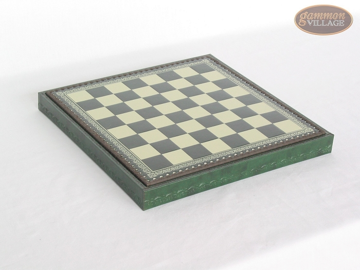 Patterned Italian Leatherette Chess Board with Storage [Green]