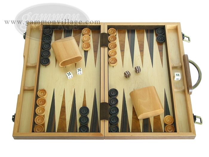 15-inch Wood Backgammon Set - Burlwood