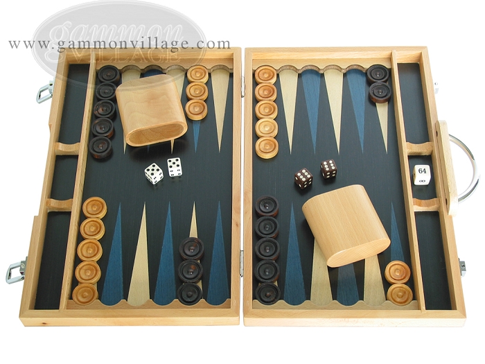 15-inch Wood Backgammon Set - Beechwood (Blue)