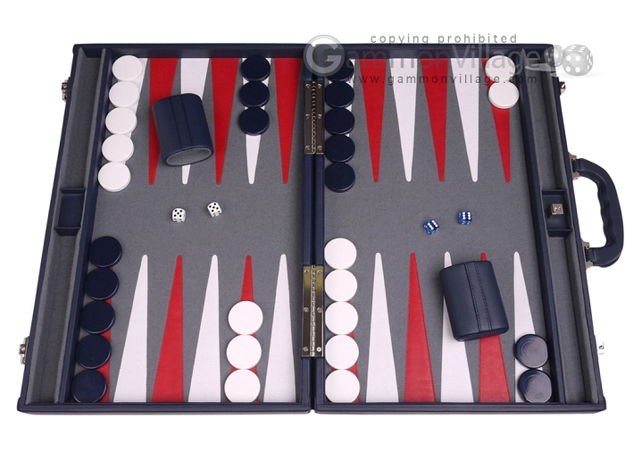 Aries™ Professional Leather Backgammon Set - Blue/Grey