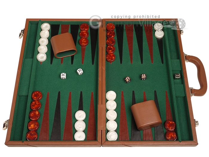 18-inch Leather Backgammon Set - Tan/Green