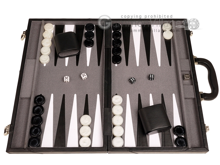 18-inch Leather Backgammon Set - Black/Grey