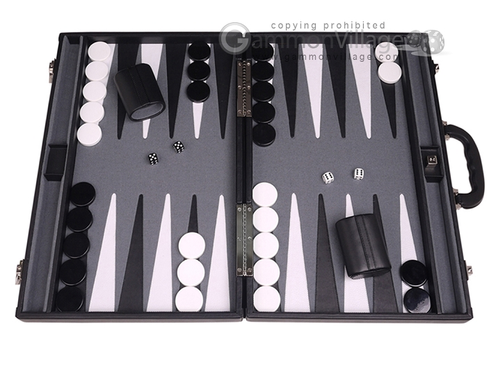 Aries™ Professional Leather Backgammon Set - Black/Grey