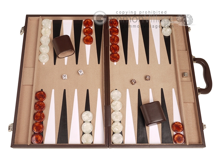 21-inch Leatherette Backgammon Set - Dark Brown/Tan