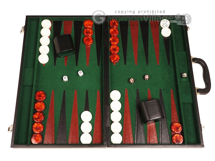 21-inch Leatherette Backgammon Set - Black/Green