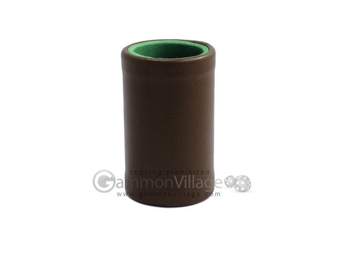 Brown Leatherette Backgammon Dice Cup - Green Interior with Trip Lip