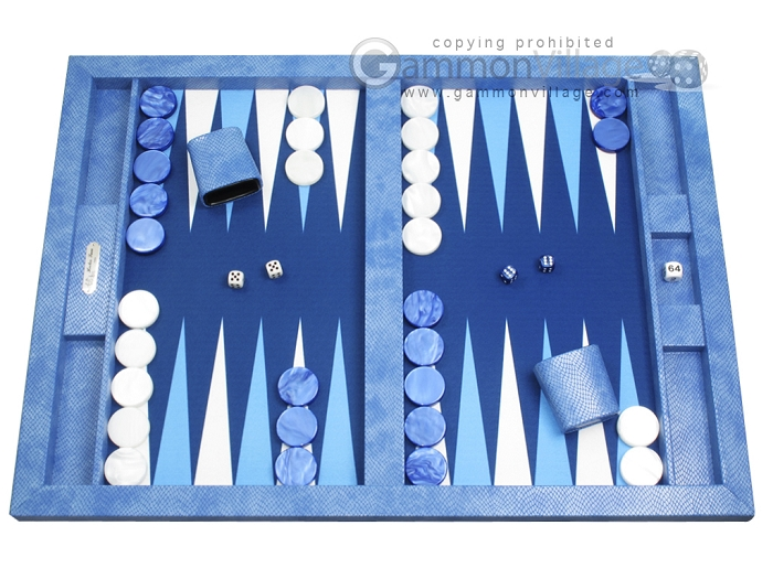 Hector Saxe Faux Snake Tabletop Backgammon Set - Blue