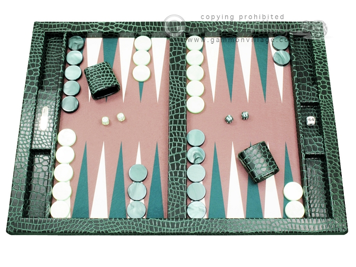 Hector Saxe Faux Croco Tabletop Backgammon Set - Emerald Green