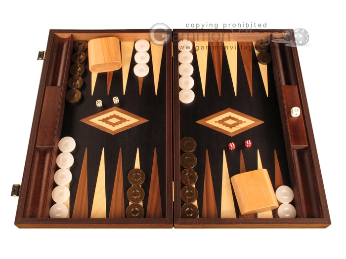 Walnut Root Backgammon Set - Large - Black Field