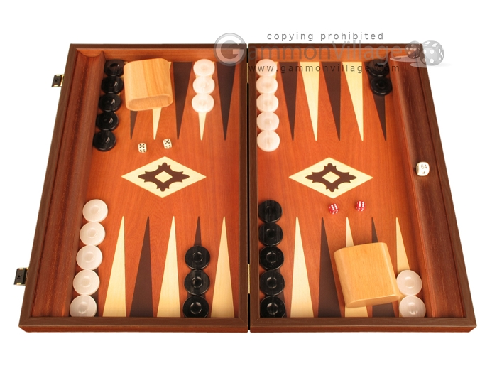 19-inch Wood Backgammon Set - Mahogany with Printed Field