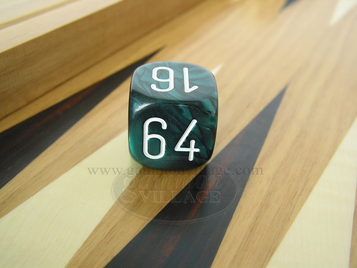 1-3/16in. Backgammon Doubling Cube - Green Marbleized