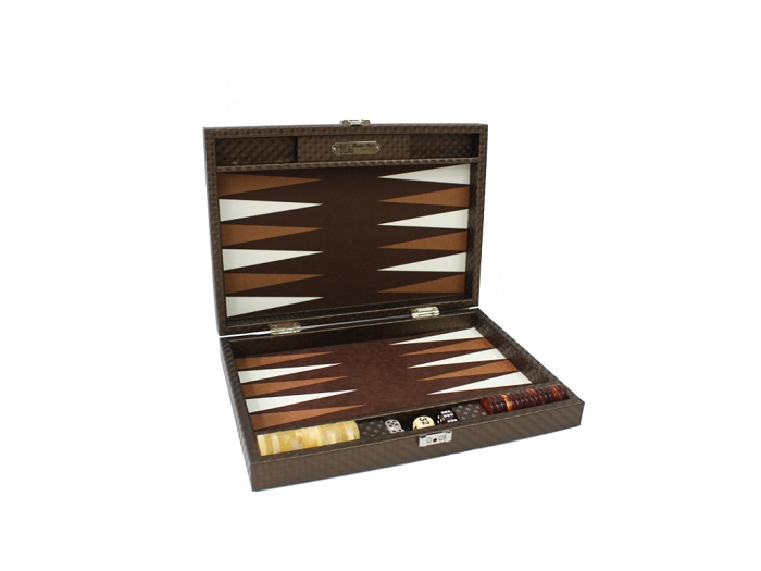 Hector Saxe Cosmos Linen Travel Backgammon Set - Brown