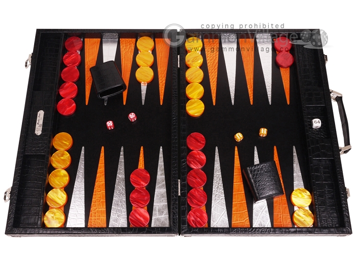 Hector Saxe Croco Leather Backgammon Set - Black - Oriflamme I