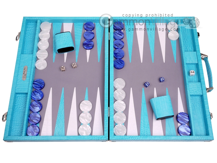 Hector Saxe Croco Leather Backgammon Set - Turquoise