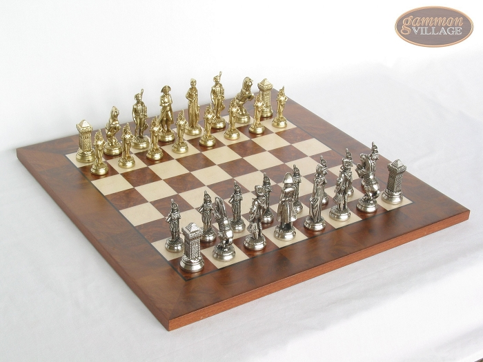 French Heritage Chessmen with Italian Lacquered Chess Board [Wood]
