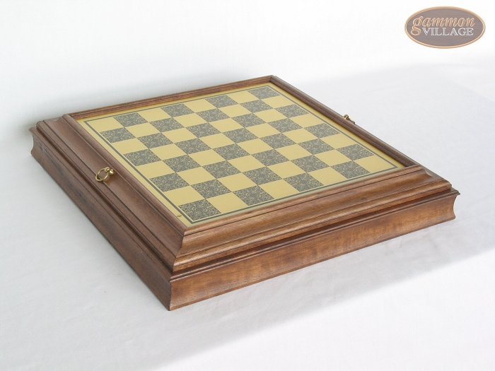 Italian Brass Chess Board with Storage