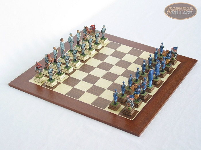 American Civil War Chessmen with Spanish Wood Chess Board