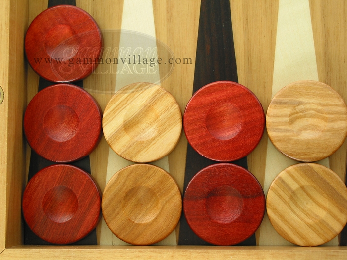 Backgammon Checkers - Olive Wood - Red - Set of 30