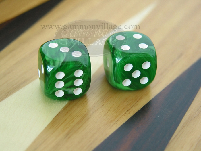 Rounded High Gloss Swoosh Dice - Arctic Green (1 pair)