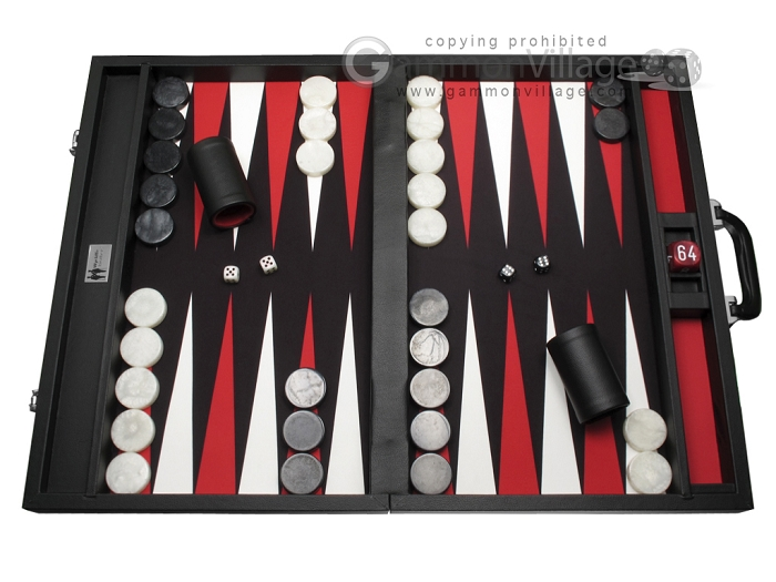 Wycliffe Brothers® Tournament Backgammon Set - Black with Black Field - Gen I