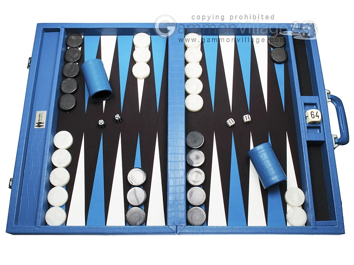 Wycliffe Brothers® Tournament Backgammon Set - Turquoise Croco with Black Field - Gen I