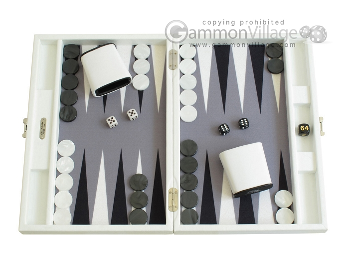 Hector Saxe Leatherette Travel Backgammon Set - White
