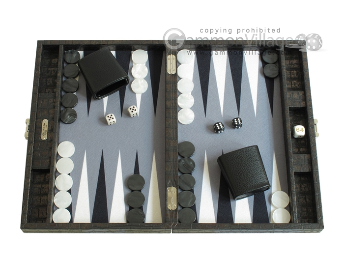 Hector Saxe Faux Croco Travel Backgammon Set - Black