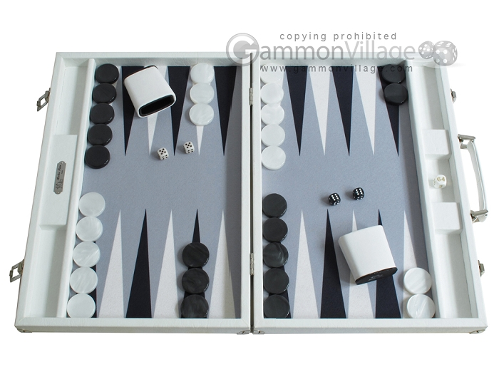 Hector Saxe Leatherette Backgammon Set - White
