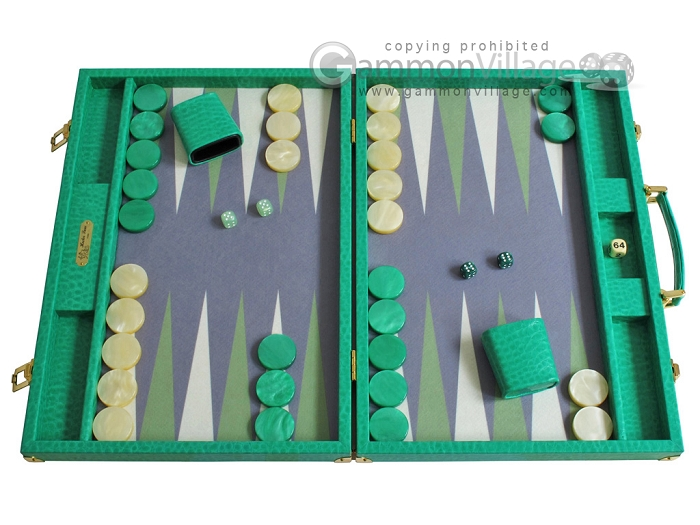 Hector Saxe Faux Lizard Backgammon Set - Anise Green