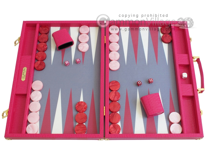 Hector Saxe Faux Lizard Backgammon Set - Fuchsia