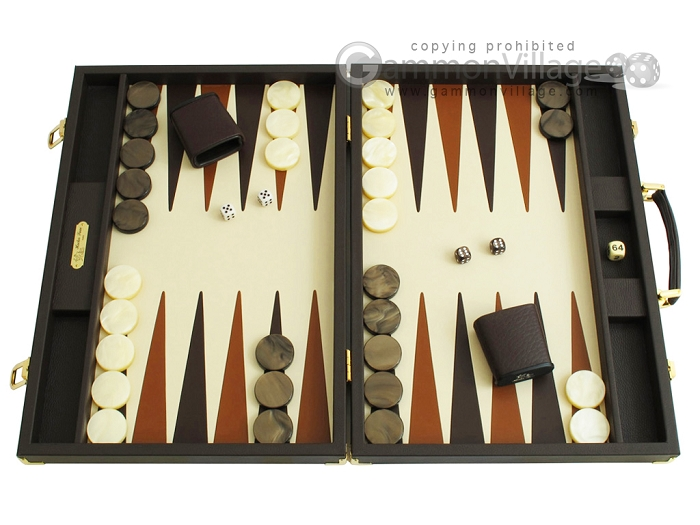 Hector Saxe Calfskin Leather Backgammon Set - Chocolate