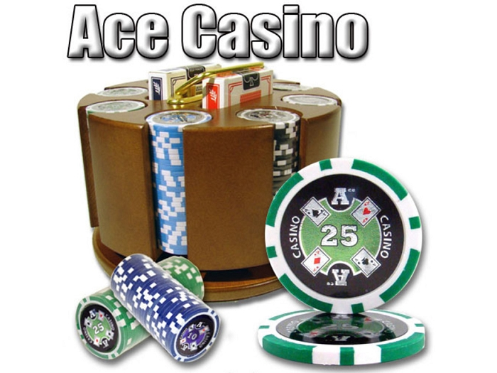 14gram Ace Casino Clay Poker Chips - Carousel Case - 200 Chips