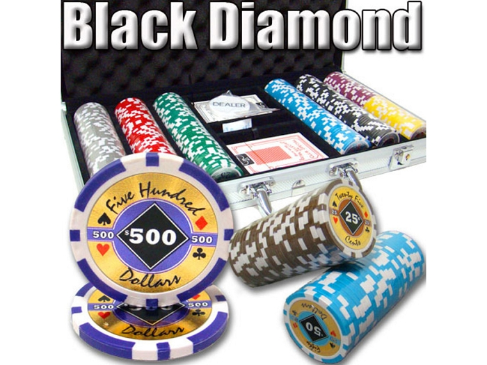 14gram Black Diamond Clay Poker Chips - Aluminum Case - Silver - 300 Chips