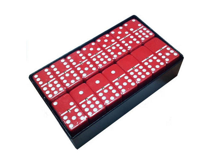 DOUBLE 9 Red Dominoes Set - With Spinners - Arcadian Black Box