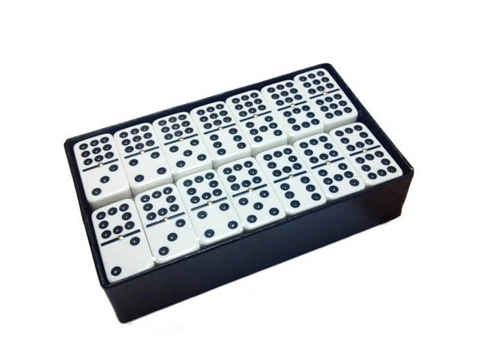 DOUBLE 9 White Dominoes Set - With Spinners - Arcadian Black Box