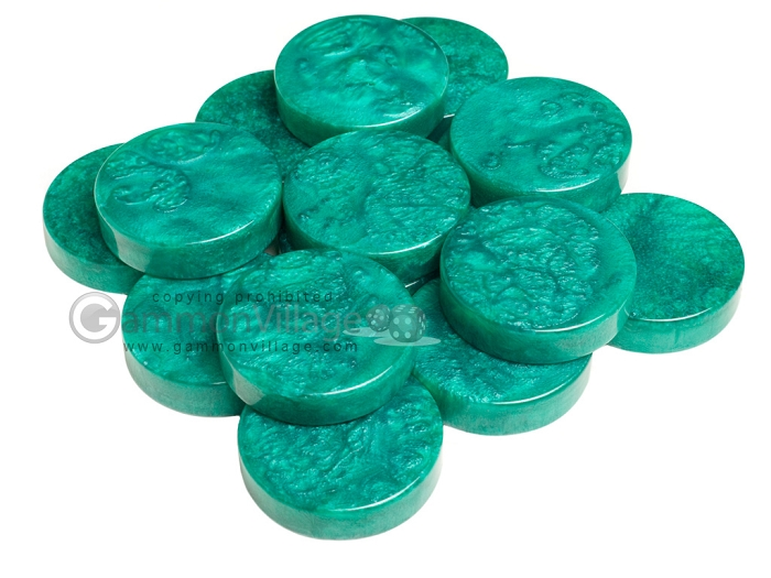 Backgammon Checkers - Mother Of Pearl - Plastic - Emerald Green - Roll of 15