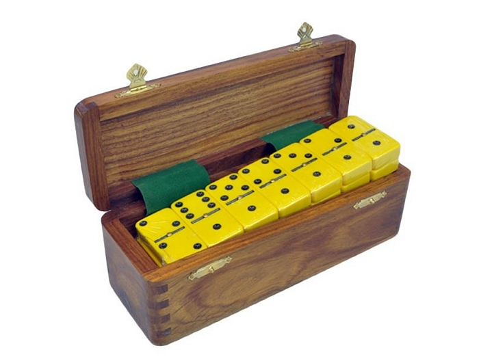 DOUBLE 6 Yellow Dominoes Set - With Spinners - Wood Box