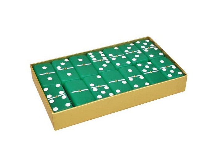 DOUBLE 6 Frosted Emerald Green Dominoes Set - Gold Gift Box
