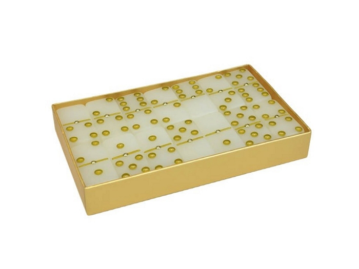 DOUBLE 6 Frosted White Diamond Dominoes Set - Gold Gift Box