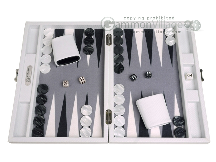 Hector Saxe Carbon Linen/Felt Travel Backgammon Set - White