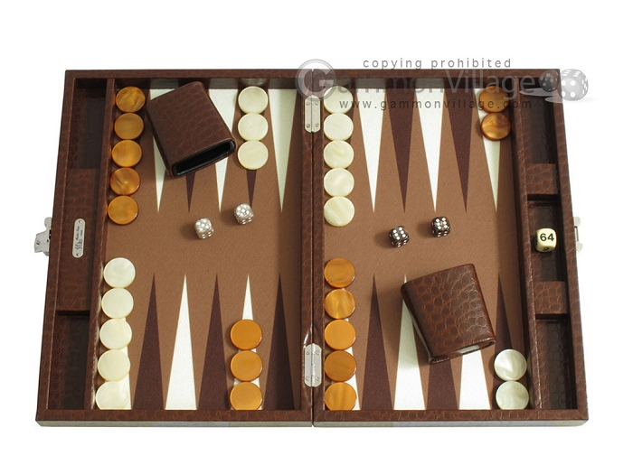 Hector Saxe Faux Lizard Travel Backgammon Set - Brown