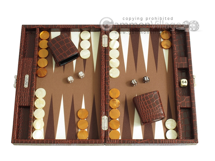 Hector Saxe Faux Croco Travel Backgammon Set - Brown