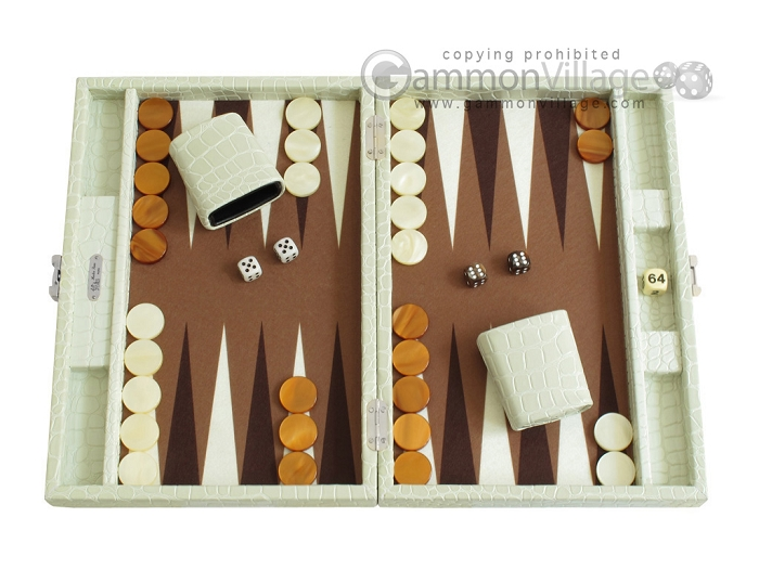 Hector Saxe Faux Croco Travel Backgammon Set - Ivory